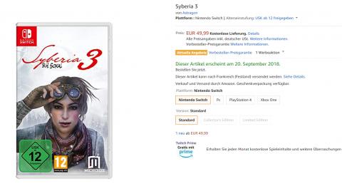 Syberia 3 : La version Switch datée par Amazon.de