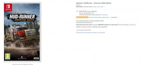 Spintires : MudRunner - Une version Switch aperçue sur Amazon