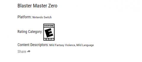 Blaster Master Zero : Une version éditée par Nicalis repérée sur l'ESRB
