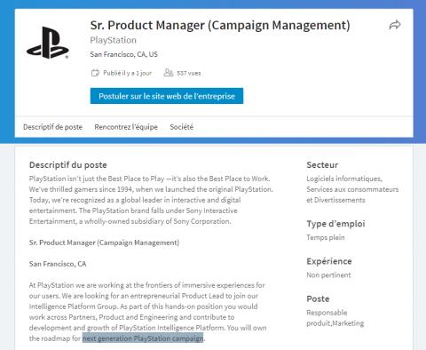 PS5 : Sony recrute pour la prochaine génération de PlayStation