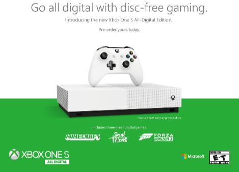 Microsoft annonce une nouvelle Xbox One S sans lecteur de disque