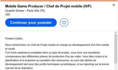 """Quantic Dream recrute pour un jeu """"mobile et social"""""""