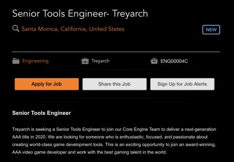 Call of Duty : une offre d'emploi confirme que Treyarch travaille sur l'opus de 2020