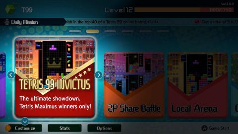 Tetris 99 passe en version 2.0 et accueille trois nouveaux modes