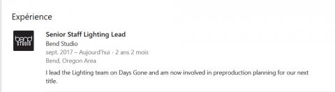 Bend Studio (Days Gone) a commencé la préproduction de son prochain jeu
