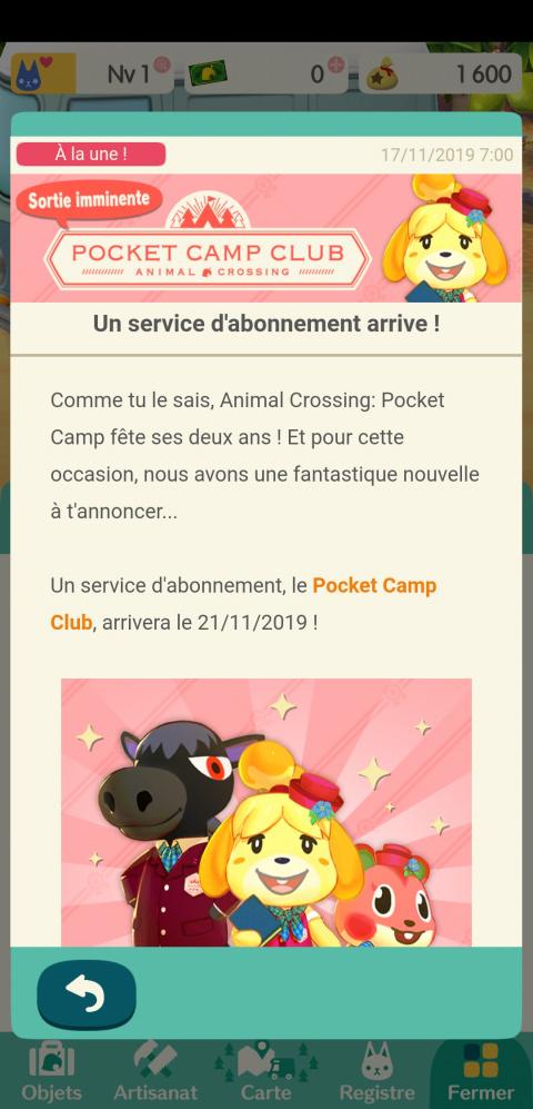 Animal Crossing : Pocket Camp va se doter d'un service par abonnement