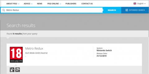 Metro Redux listé sur Nintendo Switch par l'organisme européen PEGI