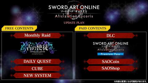 Sword Art Online : Alicization Lycoris détaille son programme post-lancement