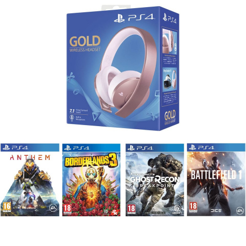 Promo Auchan: Casque Gold Rose PlayStation + 4 jeux à 99,99€