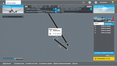 Flight Simulator, Airbus 320neo : Briefing du vol entre Perpignan et Tarbes