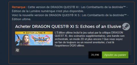 Dragon Quest XI : La version originale n'est plus disponible en téléchargement