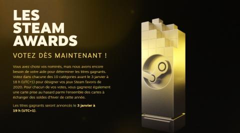Steam lance ses soldes d'hiver et les votes des Steam Awards 2020