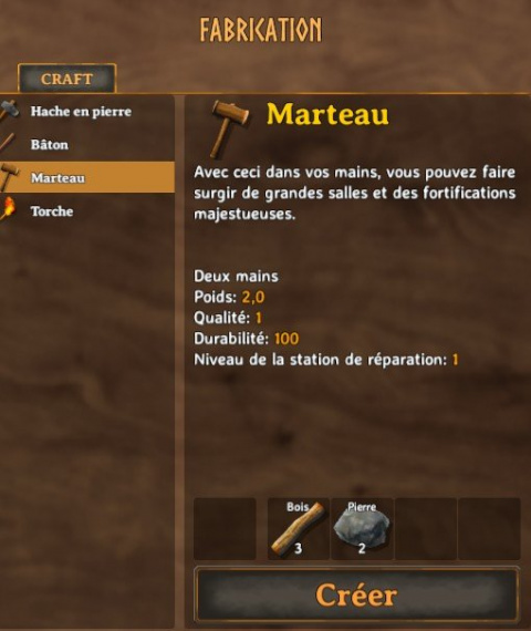 Valheim, craft, : guide et liste des recettes