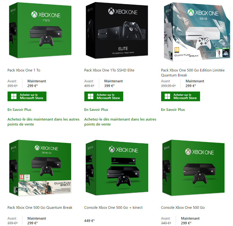 la xbox one baisse ses prix. Black Bedroom Furniture Sets. Home Design Ideas