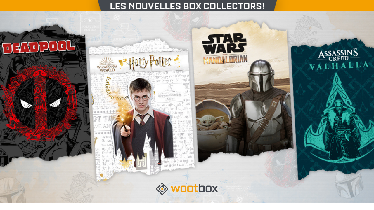 The Assassin's Creed, Harry Potter, The Mandalorian and Deadpool Wootbox collectors are here!